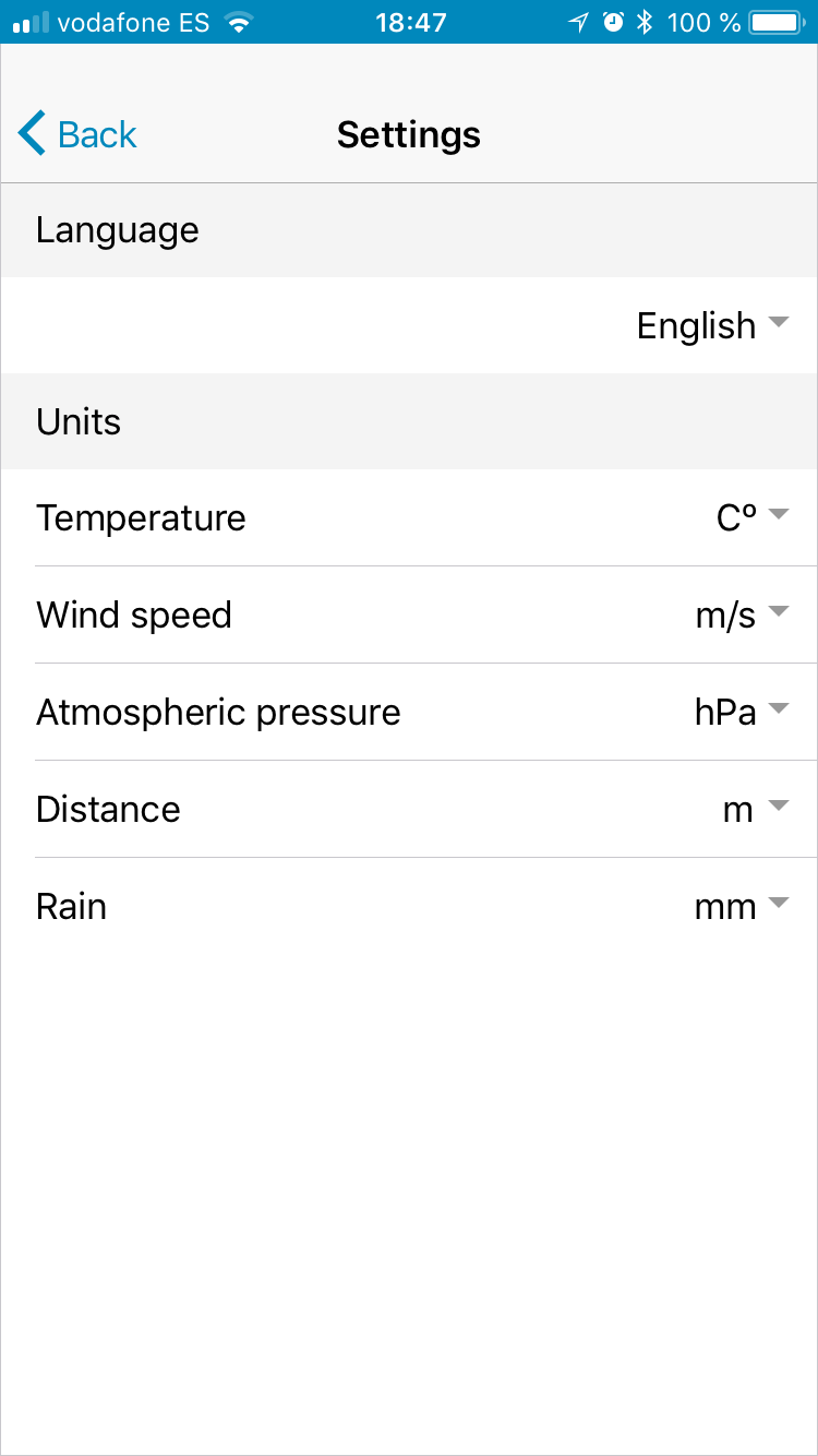 Weathercloud App - Settings